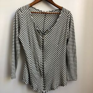 Soft Surroundings Zippered Striped Blouse Top Lg